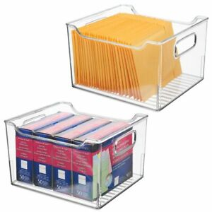 Mdesign Plastic Office Storage Bin Container Desk Organizer 2 Pack Clear