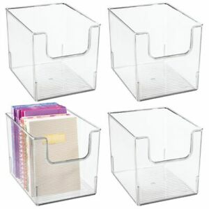 Mdesign Plastic Home Office Storage Bin Container Desk Organizer 4 Pack Clear