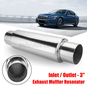3 Inlet Outlet 16 Long Exhaust Turbo Muffler Resonator Stainless Steel