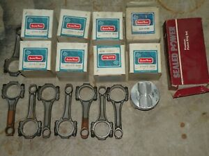 8 Sealed Power 2044 P 030 Pistons Set Rings Rods Oil Pump Chevy 327 Nos