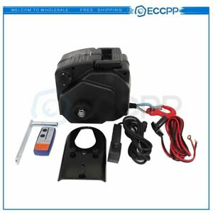 5000lbs 12v Electric Trailer Winch Synthetic Rope Cable 33ft Boat Winch Black