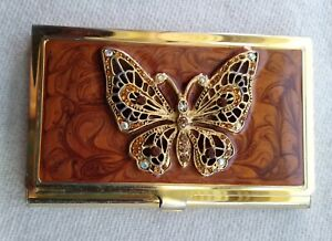 Vtg Gold Toned Butterfly Business Card Holder Case Wallet Rhinestones