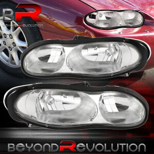 For 1998 2002 Chevrolet Camaro Replacement Chrome Housing Clear Headlights Pair