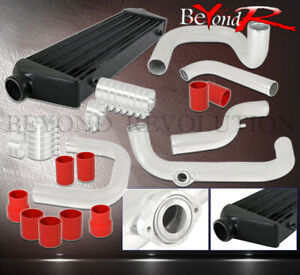 For Civic Crx D15 D16 Bolt On 2 5 Black Turbo Intercooler Piping Kit Red Coupler