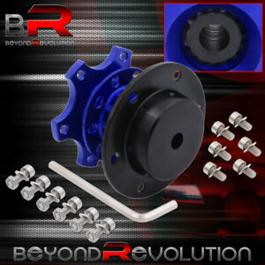 6 Bolt Black Blue Competition Racing Steering Wheel Quick Release Hub Bolt On