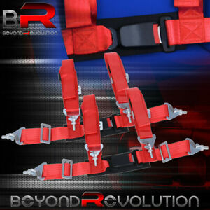 4 Point 2 Harness Racing Red Seat Belt Pair Buckle Universal Strap Seatbelt
