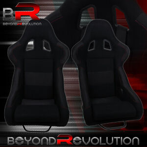 2x Non Reclinable Black Cloth Racing Bucket Seats W Red Stitching Sliders