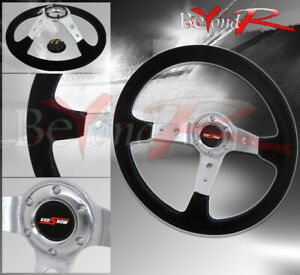 350mm Grip Suede Black Blue Stitches Steering Wheel Jdm Godsnow Button Horn