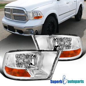 For 2009 2018 Dodge Ram 1500 2500 3500 Headlights Turn Signal Lamps Pair