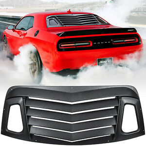 For 08 21 Dodge Challenger Rear Window Scoop Louver Sun Shade Cover Abs Black