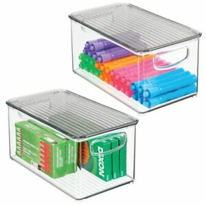 Mdesign Plastic Storage Bin Lid For Home Office Workspace 2 Pack Clear smoke