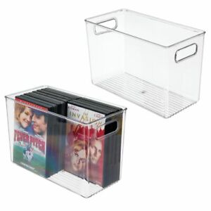 Mdesign Plastic Office Supplies Storage Organizer Bin Handles 2 Pack Clear