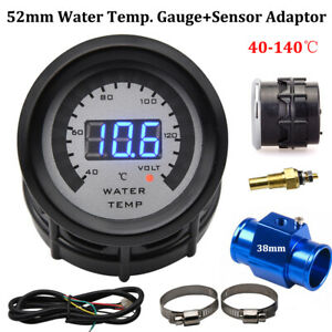 52mm Digital Led Water Temperature Gauge With Water Temp Joint Pipe Adapter 38mm
