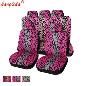 9pcs Leopard Printing Universal Car Seat Cover With Headrest Cover Interior