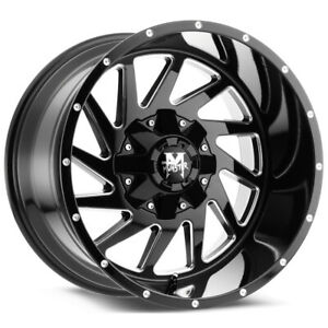 4 offroad Monster M12 20x12 6x135 6x5 5 44mm Black milled Wheels Rims 20 Inch
