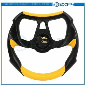 320mm Battle Style Racing Steering Wheel Black And Yellow Horn Button
