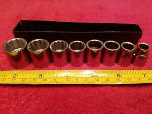 Craftsman 3 8 Drive Metric Socket Set 8 Pc 12 Pt With Metal Tray Vtg Usa