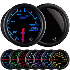 Glowshift Tinted 7 Color 100 Psi Fuel Pressure Gauge Kit Includes Electronic