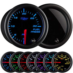Glowshift Tinted 7 Color 30 Psi Fuel Pressure Gauge Kit Includes Electronic