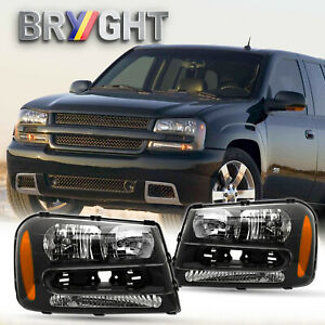 For 2002 2009 Chevy Trailblazer Black Housing Amber Corner Headlights lamps Pair