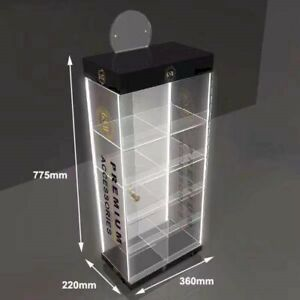 Counter Top Acrylic Display Stand With 4 Led Light Lockable Using For Multi p