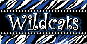 Personalized Monogrammed Custom License Plate Auto Car Tag Wildcats Zebra