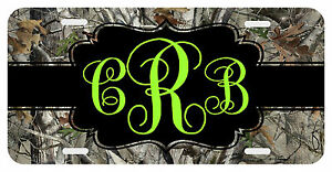 Personalized Monogrammed License Plate Auto Car Tag Camo Lime
