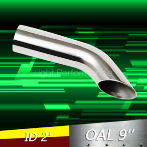 2 Id Weld on Polished Turn Down Exhaust Tips 2 Inlet 9 Long Stainless Steel