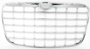 Chrome Shell W Silver Insert Grille Ch1200275 For 2005 2008 Chrysler 300