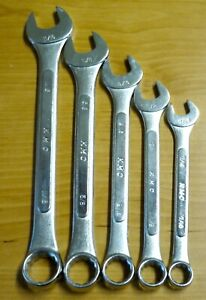 Vintage K Mart Kmc Imperial Inches Combination Wrench 5 Piece Set Made In Japan