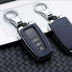 Blue Leatherette Metal Key Fob Chain Case Cover For Toyota Camry Chr Rav4 Avalon