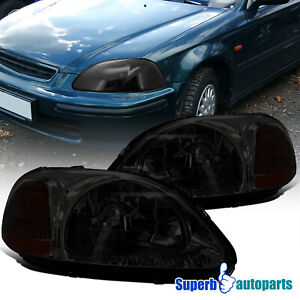 For 1996 1998 Honda 96 98 Civic Ex Lx Si Headlights Smoke Replacement