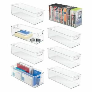 Mdesign Stackable Plastic Home Office Storage Bin With Handles 8 Pack Clear