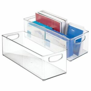 Mdesign Stackable Plastic Home Office Storage Bin With Handles 2 Pack Clear