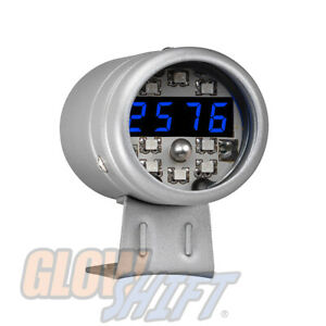 Silver Digital Tachometer Blue Led Shift Light Gs Dtsb