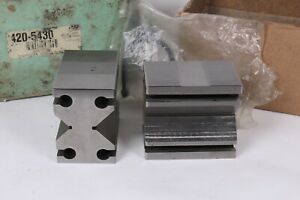 Enco 2 3 4 X 2 1 2 X 1 3 4 Paired Vee Blocks Clamp In Slot Set Used Excellent