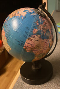 Vintage Antique Multicolor Small World Globe Map Stand 8x6 Inch Wide