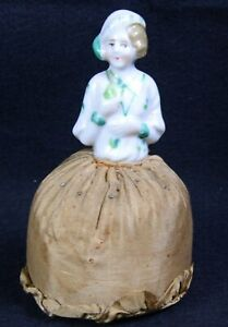 Antique Porcelain Lady Pin Cushion In White Jacket And Green Detailing 4 5 H
