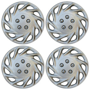 4 Piece Set Hub Cap Abs Silver 14 Inch Rim Wheel Skin Cover Center Caps Covers