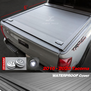 2016 2020 Tacoma Tonneau Cover Retractable Waterproof Aluminum 6ft Truck Bed led