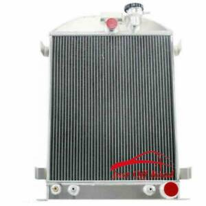 New 4 Row Aluminum Radiator For 1928 1939 Ford Model Grille shells Chevy Engine