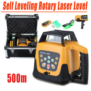 Self Leveling 360 Rotary Laser Level 500m Measure Tool Green Beam Rechargeable