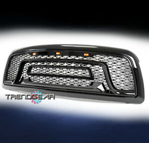 For 2009 2012 Dodge Ram 1500 Hood Upper Grille Grill Shell W Lights Glossy Black