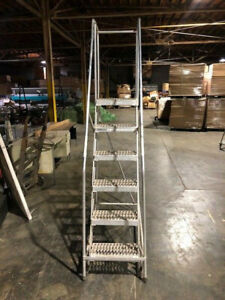 Cotterman 6 Step Aluminum Rolling Staircase ladder In Very Good Condition Used
