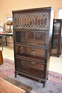 Antique Lundstrom Barrister Bookcase With Leaded Glass 4 Stack