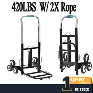 420lbs W 2x Rope Stair Climbing Moving Dolly Hand Truck Warehouse Appliance Cart