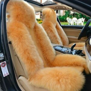Real Sheepskin Car Seat Covers One Size Fit Most Long Wool Car Front Seat Cover