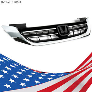 Front Bumper Radiator Upper Chrome Grille Fit For Honda Accord 2013 2015 New