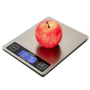 Digital Kitchen Scale 22lb 0 05 Oz 10kg 1g Lcd Stainless Steel Food Diet Weigh