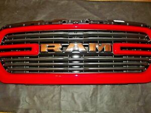 2019 2021 Dodge Ram 1500 Front Bumper Grille Grill Oem Flame Red W Chrome Ram